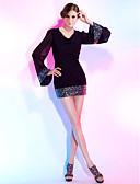 povoljno Koktel haljine-Kroj uz tijelo V izrez Kratki / mini Šifon / Sa šljokicama Mala crna haljina Koktel zabava Haljina s Šljokice po TS Couture®