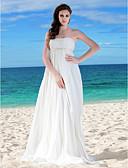 povoljno Vjenčanice-A-kroj Bez naramenica Do poda Šifon Izrađene su mjere za vjenčanja s Perlica / Traka / vrpca / Nabrano po LAN TING BRIDE®