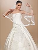baratos Véus de Noiva-Uma Camada Borda com aplicação de Renda Véus de Noiva Véu Cotovelo Com Flor de Cetim 62,99 in (160cm) Tule Linha-A, Vestido de Baile,