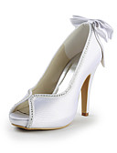 hesapli Gelin Şalları-Kadın's Ayakkabı Saten / Streç Saten Bahar / Yaz Stiletto Topuk Düğün / Parti ve Gece için Taşlı Pembe / Açık Kahverengi / Kristal