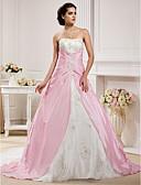 Χαμηλού Κόστους Λουλουδάτα φορέματα για κορίτσια-Βραδινή τουαλέτα Στράπλες Μακριά ουρά Οργάντζα / Ταφτάς Φορέματα γάμου φτιαγμένα στο μέτρο με Χάντρες / Διακοσμητικά Επιράμματα /