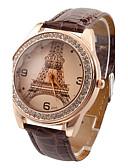 baratos Relógios da Moda-Mulheres Relógio de Pulso imitação de diamante PU Banda Casual / Torre Eiffel / Fashion Preta / Branco / Vermelho / Um ano / Jinli 377