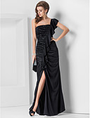 cheap Evening Dresses-Sheath / Column One Shoulder Floor Length Jersey Formal Evening Dress with Beading / Side Draping / Split Front by TS Couture®