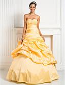 Χαμηλού Κόστους Βραδινά Φορέματα-Βραδινή τουαλέτα / Πριγκίπισσα Καρδιά Μακρύ Ταφτάς Εμπνευσμένο από Βίντατζ Επίσημο Βραδινό Φόρεμα με Χάντρες / Χιαστί / Λουλούδι με TS Couture®