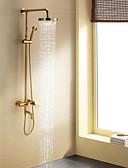 hesapli Parti Çorapları-Duş Musluğu - Çağdaş Ti-PVD Duş Sistemi Seramik Vana Bath Shower Mixer Taps / Tek Kolu Üç Delik
