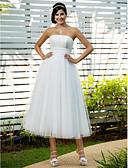 Χαμηλού Κόστους Νυφικά-Γραμμή Α / Πριγκίπισσα Στράπλες Κάτω από το γόνατο Τούλι Φορέματα γάμου φτιαγμένα στο μέτρο με Χάντρες / Διακοσμητικά Επιράμματα / Που καλύπτει με LAN TING BRIDE® / Μικρά Άσπρα Φορέματα