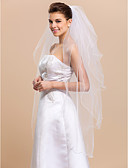 cheap Mother of the Bride Dresses-Four-tier Pencil Edge Wedding Veil Fingertip Veils with Satin Flower 47.24 in (120cm) Tulle A-line, Ball Gown, Princess, Sheath / Column, Trumpet / Mermaid / Classic