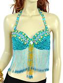 Χαμηλού Κόστους Ρούχα χορού της κοιλιάς-Χορός της κοιλιάς Μπλούζες Γυναικεία Spandex / Chinlon Χάντρες / Πούλιες Αμάνικο / Επίδοση