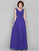 cheap Mother of the Bride Dresses-A-Line V Neck Floor Length Chiffon Mother of the Bride Dress with Beading / Appliques / Draping by LAN TING BRIDE®