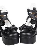 baratos Véus de Noiva-Sapatos Gótica Confeccionada à Mão Salto Alto Sapatos Laço 9.5 cm CM Para Couro PU / Couro de Poliuretano Trajes da Noite das Bruxas