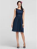 Χαμηλού Κόστους Φορέματα Παρανύμφων-Ίσια Γραμμή Scoop Neck Μέχρι το γόνατο Σιφόν Φόρεμα Παρανύμφων με Που καλύπτει / Ζώνη / Κορδέλα / Βολάν με LAN TING BRIDE®