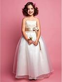 hesapli Çiçekçi Kız Elbiseleri-A-Şekilli Spagetti Askılı Yere Kadar Organze / Saten Boncuklama ile Çiçekçi Kız Elbisesi tarafından LAN TING BRIDE®