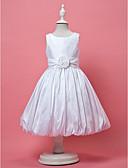 hesapli Çiçekçi Kız Elbiseleri-A-Şekilli / Prenses Taşlı Yaka Diz Boyu Tafta Drape / Kurdeleler / Çiçekli ile Çiçekçi Kız Elbisesi tarafından LAN TING BRIDE®