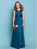 Χαμηλού Κόστους Φορέματα για παρανυφάκια-Ίσια Γραμμή Λαιμόκοψη V Μακρύ Σατέν Φόρεμα Νεαρών Παρανύμφων με Ζώνη / Κορδέλα / Χιαστί / Πιασίματα με LAN TING BRIDE® / Άνοιξη / Καλοκαίρι / Φθινόπωρο / Μήλο / Κλεψύδρα