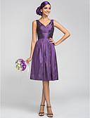 Χαμηλού Κόστους Φορέματα Παρανύμφων-Γραμμή Α Λαιμόκοψη V Μέχρι το γόνατο Ταφτάς Φόρεμα Παρανύμφων με Που καλύπτει / Πλαϊνό ντραπέ / Χιαστί με LAN TING BRIDE®