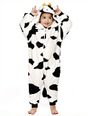 cheap Men's Shirts-Kid's Milk Cow Kigurumi Pajamas Onesie Pajamas Flannel Toison Black / White Cosplay For Animal Sleepwear Cartoon Halloween Festival / Holiday