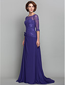 cheap Mother of the Bride Dresses-A-Line Bateau Neck Sweep / Brush Train Chiffon / Lace Mother of the Bride Dress with Flower by LAN TING BRIDE® / Illusion Sleeve