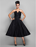 cheap Prom Dresses-Princess V Wire Tea Length Taffeta Little Black Dress Cocktail Party / Prom Dress with Pleats by TS Couture®