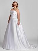 olcso Menyasszonyi ruhák-A-vonalú Pánt nélküli Udvari uszály Szatén Made-to-measure esküvői ruhák val vel Gyöngydíszítés / Rátétek / Ráncolt által LAN TING BRIDE®