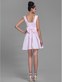 cheap Cocktail Dresses-A-Line Bateau Neck Short / Mini Satin Bridesmaid Dress with Bow(s) by LAN TING BRIDE®