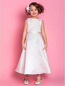 hesapli Çiçekçi Kız Elbiseleri-A-Şekilli Scoop Boyun Diz Altı Saten Aplik / Fiyonk ile Çiçekçi Kız Elbisesi tarafından LAN TING BRIDE® / Bahar / Yaz / Sonbahar / Kış / İlk Tanışma