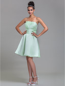 cheap Wedding Dresses-A-Line Strapless Knee Length Satin Bridesmaid Dress with Draping Ruched by LAN TING BRIDE®