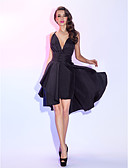 cheap Cocktail Dresses-A-Line Plunging Neck Asymmetrical Taffeta Little Black Dress / Two Piece Cocktail Party / Prom Dress with Ruched / Pleats by TS Couture®
