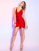 hesapli Kokteyl Elbiseleri-Sütun V Yaka Kısa / Mini Suni İpek Bandajlar ile Kokteyl Partisi / Tatil Elbise tarafından TS Couture®