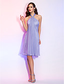 cheap Cocktail Dresses-A-Line Halter Neck Knee Length Chiffon Cocktail Party Dress with Crystal Brooch by TS Couture®
