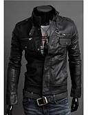 baratos Roupa de Exterior de Homem-Zipper motocicleta Collar Jaqueta de couro dos homens dos homens