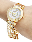 baratos Lingerie Feminina-Mulheres Bracele Relógio Japanês Gravação Oca Cobre Banda Brilhante Casual Elegante Dourada - Dourado