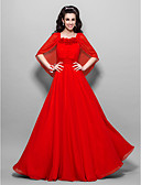 cheap Prom Dresses-A-Line Square Neck Floor Length Chiffon Prom / Formal Evening Dress with Ruched by TS Couture®