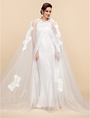 cheap Wedding Wraps-Long Sleeve Lace / Tulle Wedding / Party Evening Wedding  Wraps / Hoods & Ponchos With Capes