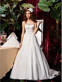 preiswerte Kleider für die Hochzeitsfeier-A-Linie / Prinzessin Schmuck Pinsel Schleppe Chiffon / Spitze Maßgeschneiderte Brautkleider mit Schleife / Perlenstickerei / Schärpe / Band durch / Durchsichtig