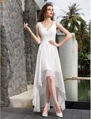 olcso Menyasszonyi ruhák-A-vonalú V-alakú Aszimmetrikus Zsorzsett Made-to-measure esküvői ruhák val vel Ráncolt / Átkötős által LAN TING BRIDE®