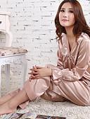 cheap Women's Lingerie-Women's V Neck Suits Satin & Silk Pajamas Jacquard