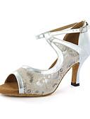 hesapli Gelin Şalları-Kadın's Latin Dans Ayakkabıları Yapay Deri Sandaletler Toka Kalın Topuk Kişiselleştirilmiş Dans Ayakkabıları Gümüş / Mavi / Bej