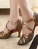 baratos Mini Vestidos-Mulheres Sapatos de Dança Moderna / Dança de Salão Glitter / Courino Salto Salto Personalizado Personalizável Sapatos de Dança Bronze / Dourado