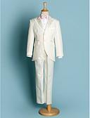 levne Pro malé družby-Slonová kost Černá Polyester Oblek pro mládence - 5 Obsahuje Sako pas Tričko Kalhoty Motýlek
