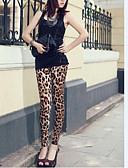 baratos Headpieces Femininos-Mulheres Seda Legging - Estampa de Leopardo Cintura Média
