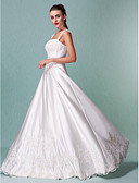 cheap Wedding Dresses-A-Line Square Neck / Straight Neckline Floor Length Satin / Beaded Lace Made-To-Measure Wedding Dresses with Sequin / Appliques by LAN