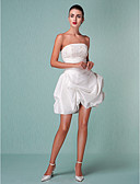 baratos Vestidos de Casamento-De Baile Sem Alças Curto / Mini Tafetá Vestidos de casamento feitos à medida com Miçangas / Apliques / Saia com Pregas em Cascata de LAN TING BRIDE® / Vestidos Brancos Justos