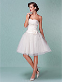 cheap Wedding Dresses-Ball Gown Sweetheart Neckline Knee Length Tulle Made-To-Measure Wedding Dresses with Sash / Ribbon / Flower / Criss-Cross by LAN TING BRIDE® / Little White Dress