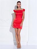 baratos Vestidos de Coquetel-Tubinho Ombro a Ombro Curto / Mini Cetim Coquetel / Baile de Formatura Vestido com Laço(s) de TS Couture®