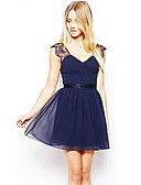 cheap Women's Dresses-Women's Going out Cute A Line Dress - Solid Colored Lace Backless Pleated Deep V