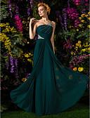 preiswerte Abendkleider-Eng anliegend Ein-Schulter Boden-Länge Chiffon Kleid mit Perlenstickerei / Drapiert / Überkreuzte Rüschen durch