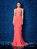 Χαμηλού Κόστους Βραδινά Φορέματα-Ίσια Γραμμή Λαιμόκοψη V Ουρά Ζορζέτα Όμορφη Πλάτη Επίσημο Βραδινό Φόρεμα με Χάντρες / Πλαϊνό ντραπέ / Χιαστί με TS Couture®
