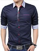 hesapli Erkek Gömlekleri-Erkek Pamuklu İnce - Gömlek Solid Büyük Bedenler