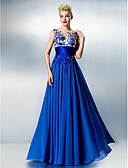 cheap Prom Dresses-A-Line Illusion Neck Floor Length Chiffon / Lace See Through Prom / Formal Evening Dress with Beading / Embroidery / Lace by TS Couture®