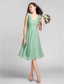 זול חליפות לנושאי הטבעת-גזרת A צווארון V באורך  הברך שיפון שמלה לשושבינה  עם תד נשפך / אסוף / בד בהצלבה על ידי LAN TING BRIDE®
